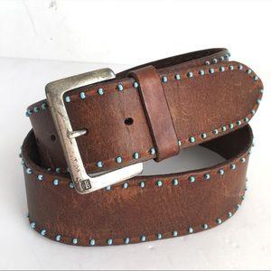 Vintage Turquoise Beaded Distressed Leather Belt